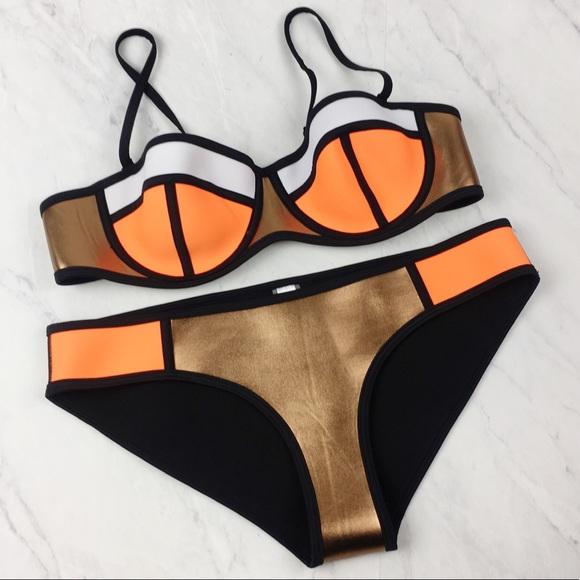 61f2012b5b2 EBuddy Swim | Neoprene Bikini In Orange Black Bronze 2pc | Poshmark